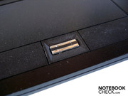 A fingerprint scanner is located between the touchpad keys.