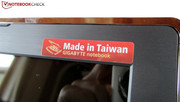 According to the sticker, the laptop is made in Taiwan.