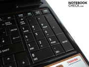 Toshiba has also accommodated a dedicated number pad.