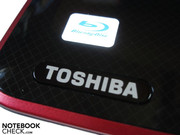 Toshiba imprint and BluRay logo on the wrist-rest