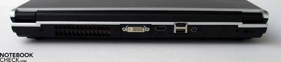 Back Side: Fan, DVI, HDMI, USB 2.0, eSATA, Power Connector, Kensington Lock