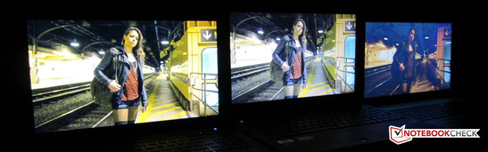 IPS panel (calibrated, matte) vs. good TN panel (not calibrated, matte) vs. bad TN panel (calibrated, glossy)