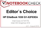 Editor's Choice Award in August 2016: HP EliteBook 1030 G1