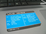 Sony Vaio VGN-FE31B view