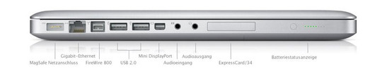 All interfaces (except of the Kensington Lock) are on the left side: MagSafe (power), Gigabit LAN, FireWire 800, 2x USB 2.0, Mini DisplayPort, Line-In (analogue / optical), Headphones and Line-Out (analogue / optical)