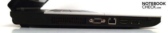 Left: Fan, VGA, LAN, ExpressCard, HDMI, eSATA/USB combo