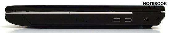 Right: optical drive, 2x USB 2.0, DC-in, Kensington Security Lock