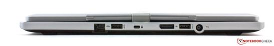 نمای عقب: اترنت، USB 3.0، قفل Kensington، DisplayPort، USB 3.0، اتصال برق