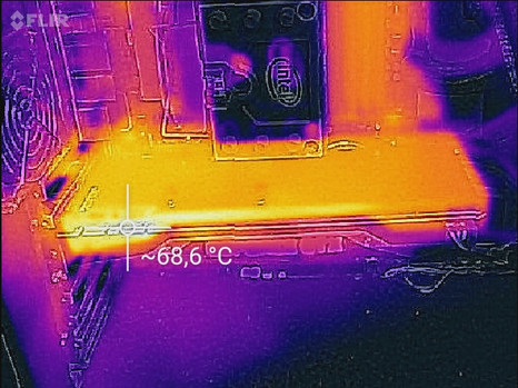 The graphics card gets very warm at up to 68 °C.