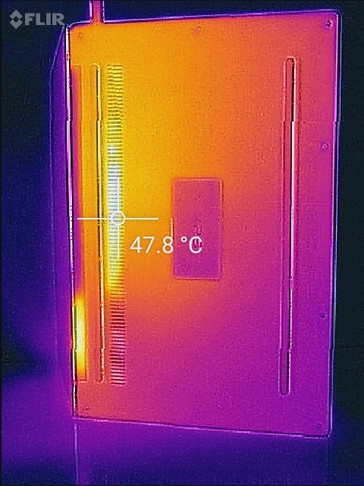The infrared camera also records the temperatures through the cooling vents, but the surface temperature stays convenient.