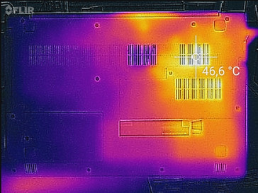 Temperature development underside (load)