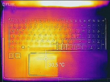 Temperature development upper side (idle)