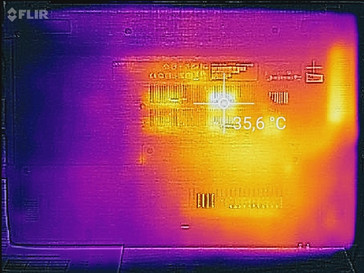 Temperature development underside (idle)