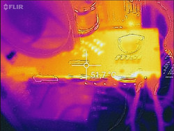 Infrared picture taken with Flir One after a long duration of high load in Unigine Valley.
