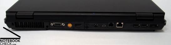 Back: Kensington Lock, Fan, VGA Out, S-Video, HDMI, Power connection, Firewire, Modem, LAN, 2x USB 2.0, eSATA