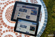 When using the Galaxy Tab outdoors, it has a fairly bright display...