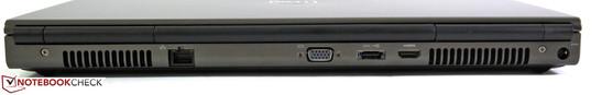 Rear: LAN, VGA, eSATA/USB 2.0 combo, HDMI, power socket
