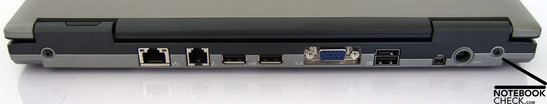 Back Side: LAN, Modem, 3x USB, VGA, Firewire, Power Connector
