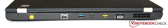 Rear side: power connector, GBit-LAN, USB 3.0, Thunderbolt, powered USB 2.0, VGA