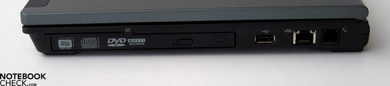 Right Side: SmartCard, DVD Drive, USB 2.0, LAN, Modem