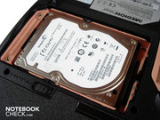 Only one hard disk fits into the case, despite the 17.0 inch size.