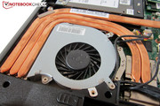 Three heat pipes and fan are responsible for cooling.