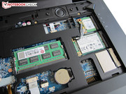 Here you can see the internal memory, the mSATA-SSD and the wireless module.