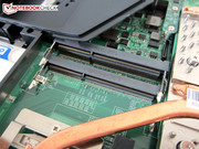 A maximum of 32 GB can be installed in the four RAM slots.