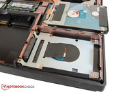The gaming notebook comes with two 2.5-inch slots for hard drives (9.5 mm).