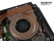 The case's right fan exclusively takes care of the processor's waste heat