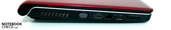 Left side: Kensington, VGA, HDMI, LAN, USB 2.0, Cardreader