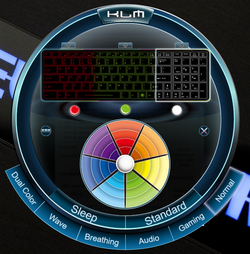 RGB lighting for three separate sections of the keyboard
