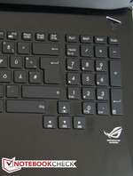 Big arrow keys are located between the keyboard and number pad.