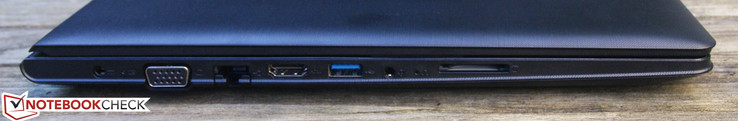 Left: DC-In, VGA, Ethernet, HDMI, USB 3.0, 3.5 mm jack, SD-card reader
