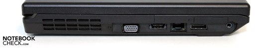 Left side: VGA, eSATA/USB, LAN, Display Port, Audio, Expresscard 34mm