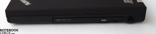 Right Side: DVD drive, modem