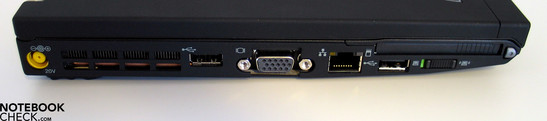 Left side: Power socket, USB, VGA, LAN, USB, ExpressCard