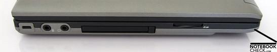 Left Side: Kensington Lock, Audio Ports, PCMCIA-Slot, SD memory card reader