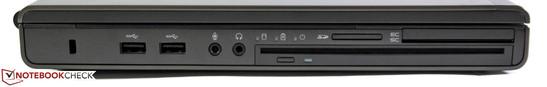 Left: Kensington, 2x USB 3.0, audio, optical slot-in drive, card reader, SmartCard reader, ExpressCard 54/34