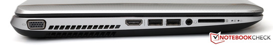 Left side: VGA, HDMI, 2x USB 3.0, stereo jack, card reader