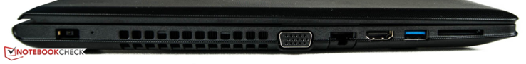 Left side: power jack, VGA, Ethernet, HDMI, 1x USB 3.0, SD card reader