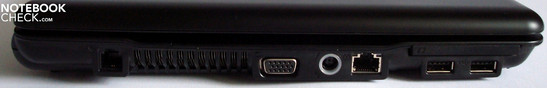 Left side: Modem, ventilation slit, VGA, power supply, 10/100 Ethernet, ExpressCard/54 with two USB 2.0 Ports underneath