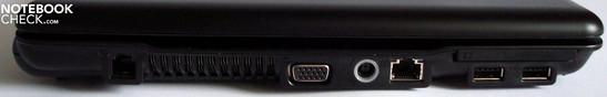 Left side: Modem, ventilation slit, VGA, power supply, 10/100 Ethernet, ExpressCard/54 with two USB 2.0 Ports underneath