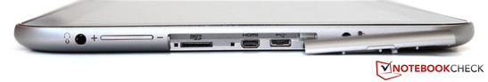 Underneath the flap: MicroSD slot, Micro-HDMI, Micro-USB