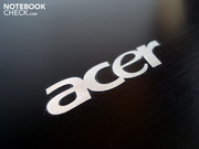 A stylish Acer logo is placed on the laptop cover