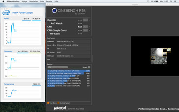 Cinebench R15 Multi (Mac OS X): The full 2.7 GHz are only available for a couple of seconds before the clock levels off at 2.3 GHz.