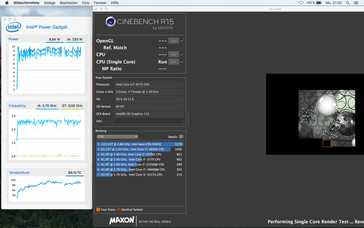 Cinebench R15 Single (Mac OS X): Clock varies between 2.5-2.8 GHz at first