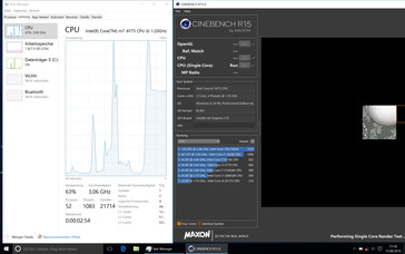 The CPU even reaches up to 3.06 GHz under Windows, but the clock drops heavily over the course of the test.