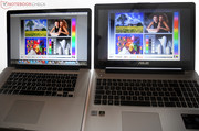 Its picture quality cannot match high-end screens (left: Apple's MacBook Pro Early 2011).