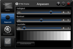 "In addition to the system's energy options, the brightness can also be controlled via HP's ""My Display"""